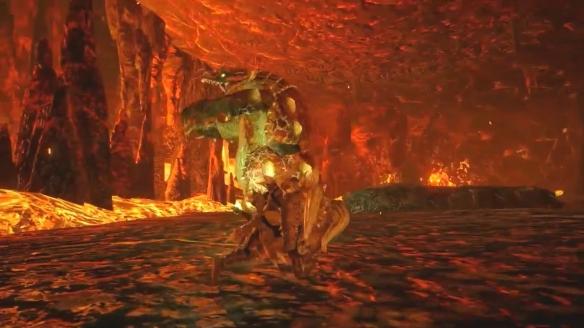 《怪猎:崛起》曝赤甲龙演示 来自熔岩之地的强者!