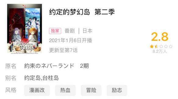 """《约定的梦幻岛》第二季基于内容""""魔改""""导致口碑崩塌"""