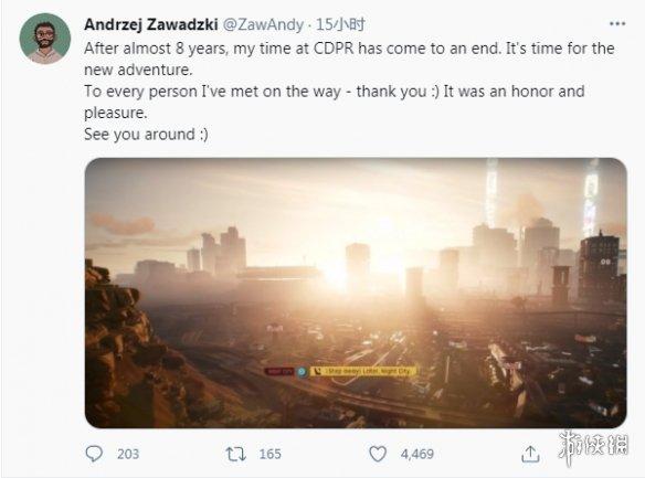 《赛博朋克2077》首席游戏设计师发推称已离开CDPR开始新冒险