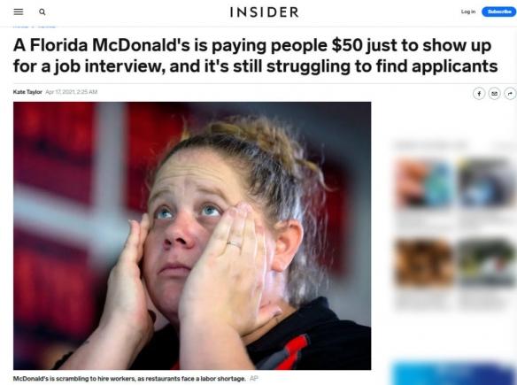 美国某麦当劳另类招聘:给来面试的人50美元酬劳!