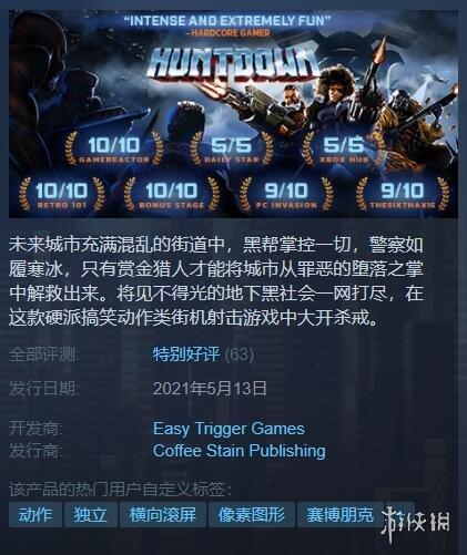 横版动作游戏《暴徒猎手》已登陆Steam 玩家可扮演三个传奇赏金猎人