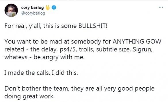 《战神》总监:制作团队都是很棒的人,如果对新作延期有不满就冲他来!