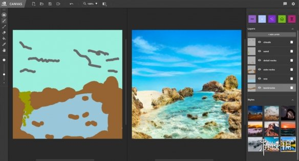 NVIDIA Canvas将涂鸦变成令人惊叹的风景画