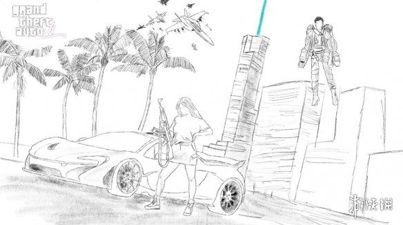 《GTA6》爆料者手绘游戏图:香车美女飞行器 超现代穿越未来?
