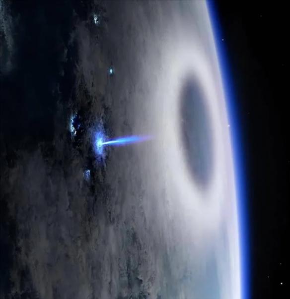 """国际空间站捕捉到的一种奇异的""""颠倒闪电""""blue jet  直冲向大气平流层"""