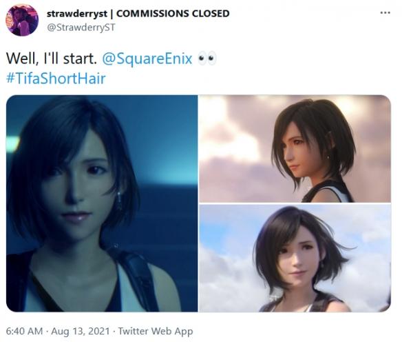 玩家制作身材更丰满短发蒂法 Square Enix官方留言:可爱!!