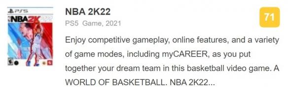 《NBA 2K22》媒体评分出炉:获IGN 7分!M站均分71