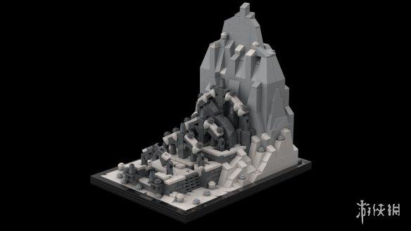 玩家用乐高积木搭建《老滚5》荒瀑古墓场景 灰白黯淡风格更显真实