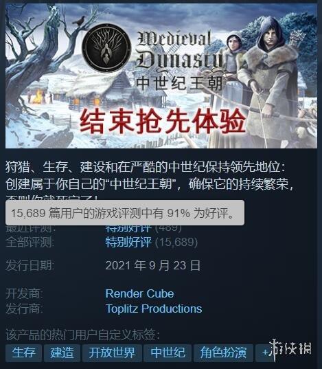 《中世纪王朝》Steam发售 目前好评率高达91%