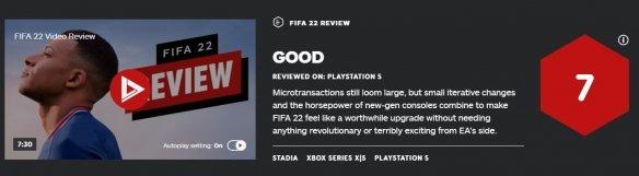 EA《FIFA 22》获IGN7分:晓得变化+新时代游戏性能令人期待